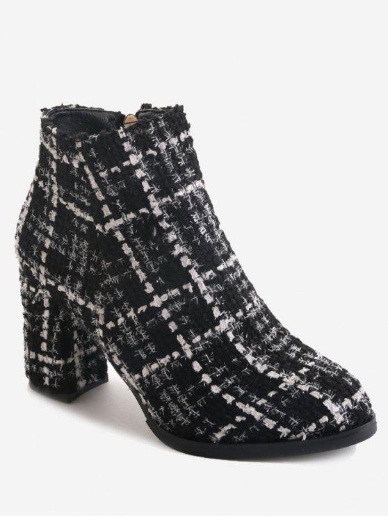hot Block Heel Side Zipper Ankle Boots - BLACK 38