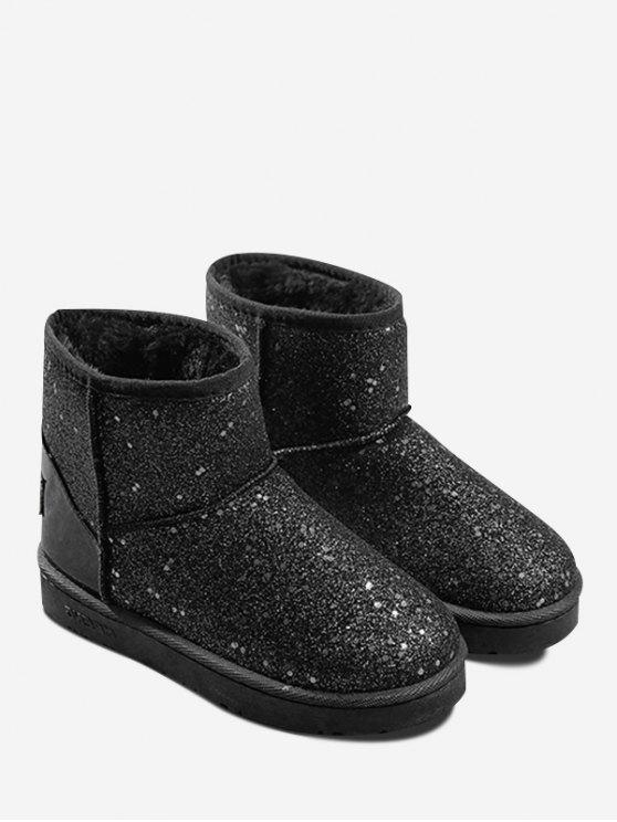 hot Slip On Glitter Snow Boots - BLACK 39