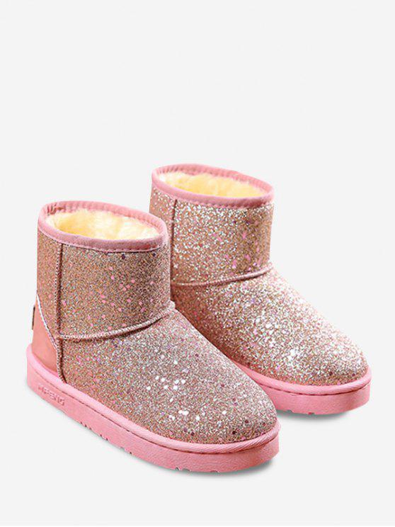 womens Slip On Glitter Snow Boots - PAPAYA 38