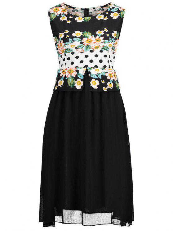 shops Plus Size Polka Dot Floral Print Dress - BLACK 4XL