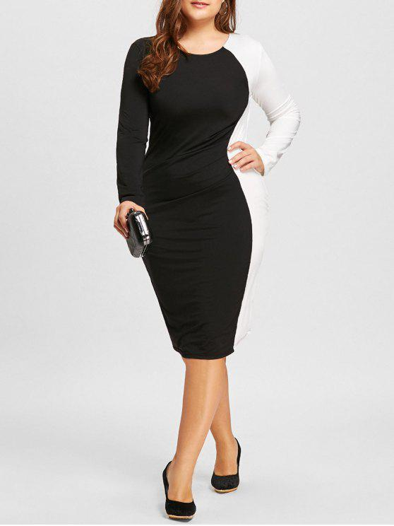 34% OFF] 2019 Plus Size Two Tone Bodycon Dress In WHITE AND BLACK ...