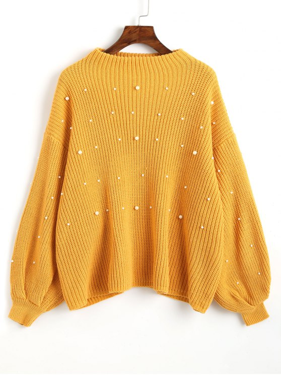 unique Lantern Sleeve Oversized Faux Pearls Sweater - MUSTARD ONE SIZE