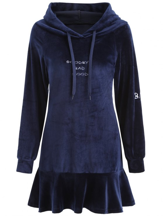 chic Letter Patched Velvet Hooded Dress - CERULEAN S