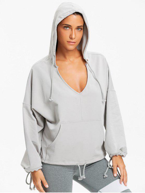 trendy Kangaroo Pocket Low Cut Hoodie - GRAY S