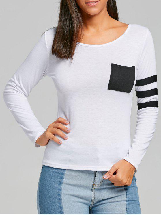 T-shirt a tasca a righe a blocchi di colore - Bianca L