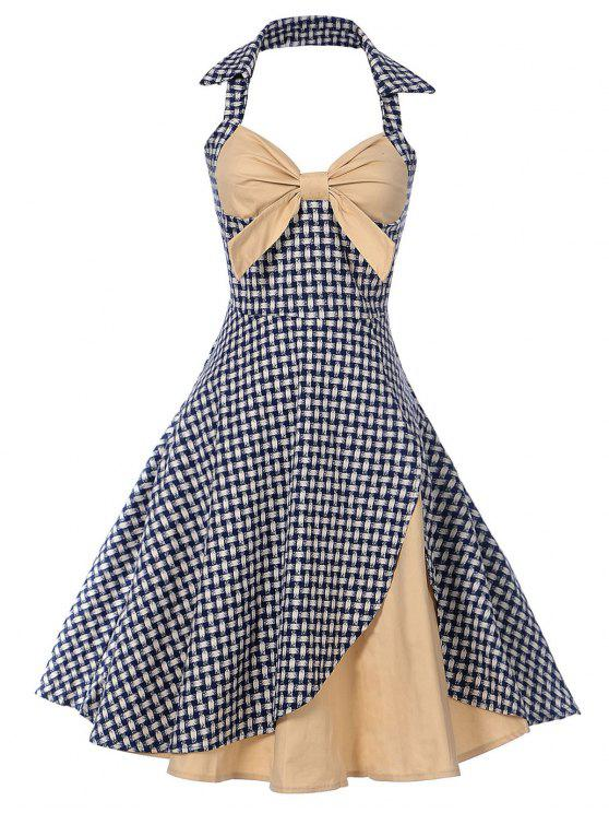 4c11f4d660c 33% OFF  2019 Vintage Halter Bowknot Plaid Pin Up Dress In APRICOT ...