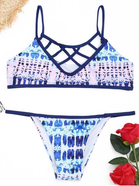 Strappy Tie Dye Bikini Set - COLORMIX  L