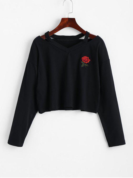 Kalte Schulter Rose Besticktes Geflicktes Sweatshirt - Schwarz XL