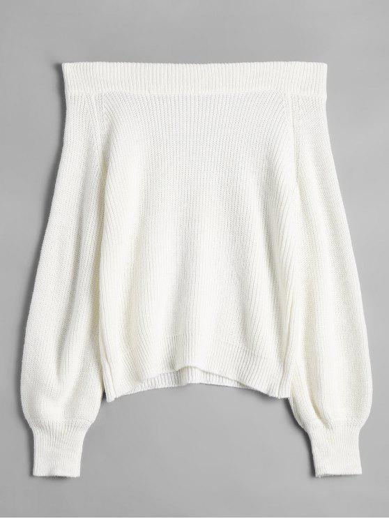 shop Off The Shoulder Lantern Sleeve Pullover Sweater - WHITE ONE SIZE