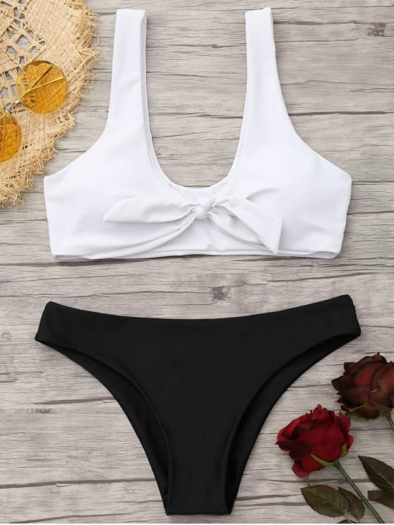 women Padded Knotted Bralette Bikini Set - WHITE AND BLACK L