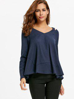 Cut Out V Neck Sweater - Purplish Blue L