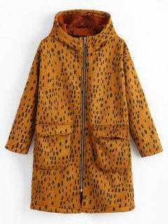 Zip Up Leopard Hooded Coat - Brown