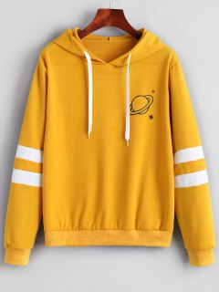 Contrast Stripes Panel Planet Hoodie - Mustard S