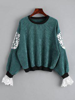 Crew Neck Lace Panel Sweatshirt - Green