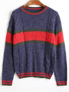 Color Block Drop Shoulder Round Neck Sweater - Deep Blue