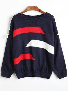 Schnüren Sie Sich Oben Schulter Breiter Gestreifter Pullover - Schwarzblau
