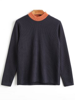 Mock Neck Plain Knitwear - Purplish Blue