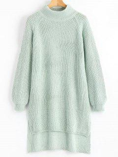 Side Slit Chunky High Low Sweater - Light Green