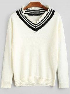 College Style Ruffle Collar Knitwear - Crystal Cream S