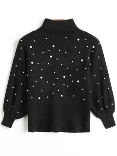 Faux Pearl High Collar Puff Sleeve Sweater - Black