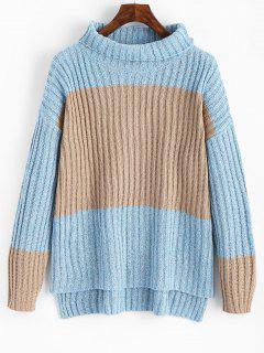 Turtleneck Contrast High Low Sweater - Khaki