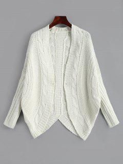 Dolman Sleeve Asymmetric Cable Knit Cardigan - Off-white