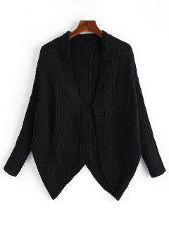 Dolman Sleeve Asymmetric Cable Knit Cardigan - Black