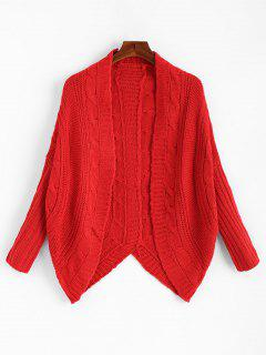 Dolman Sleeve Asymmetric Cable Knit Cardigan - Red