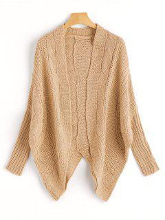 Dolman Sleeve Asymmetric Cable Knit Cardigan - Khaki