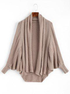 Shawl Collar Dolman Sleeve Loose Knit Cardigan - Khaki