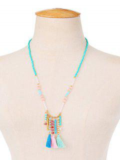 Faux Crystal Beaded Tassel Charm Necklace