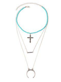 Faux Turquoise Moon Crucifix Layered Necklace - Silver