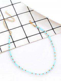 Faux Crystal Beaded Choker Necklace - Blue