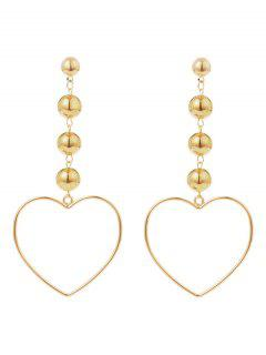 Hollow Out Heart Shape Drop Earrings - Golden