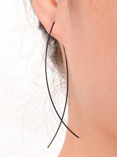 Simple Alloy Fish Hoop Earrings - Black