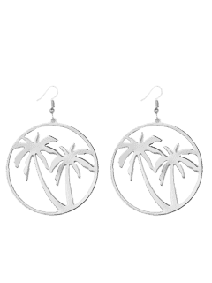 Hollow Out Coconut Tree Earrings - Silver