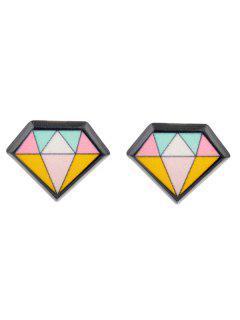 Geometric Diamond Stud Earring - Black