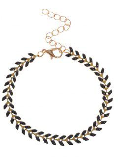 Metal Leaf Chain Bracelet - Black