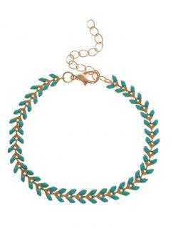 Metal Leaf Chain Bracelet - Green