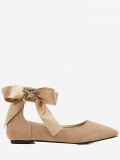 Bowknot Ribbon Point Toe Ankle Wrap Flats - Apricot 36