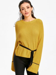 Tie Waist Raglan Sleeve Sweater - Mustard