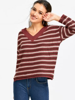 Drop Shoulder Striped Sweater - Wine Red