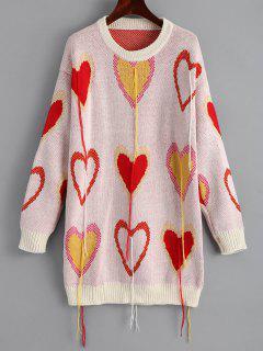 Suéter Largo Con Estampado De Corazones Con Flecos - Multicolor
