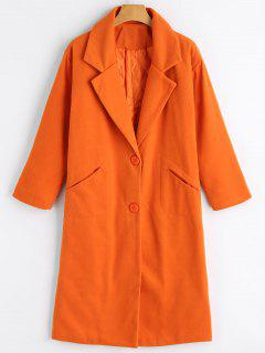 Button Up Pockets Lapel Collar Coat - Orange S