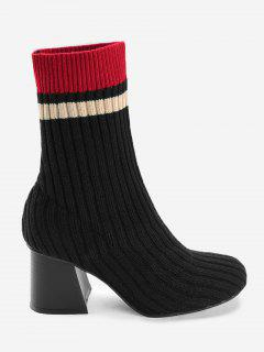 Block Heel Colorblocked Ankle Ribbed Knit Boots - Black 39