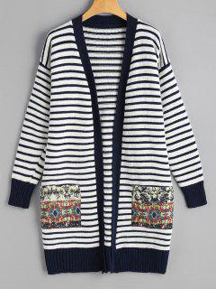 Graphic Pockets Striped Open Cardigan - Purplish Blue
