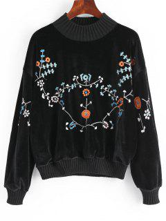 Floral Patched Velvet Sweatshirt - Black
