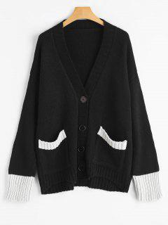 Button Up Plunging Neck Contrast Cardigan - Black