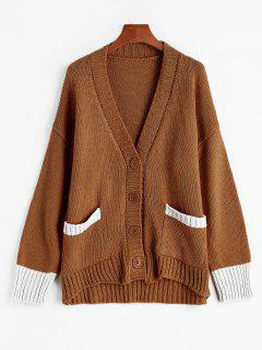 Button Up Plunging Neck Contrast Cardigan - Brown