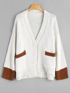 Button Up Plunging Neck Contrast Cardigan - Off-white